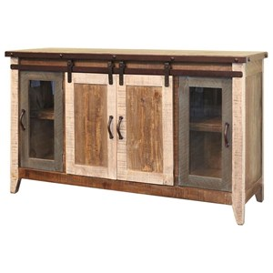 "International Furniture Direct 900 Antique 60"" TV Stand with Sliding Doors"