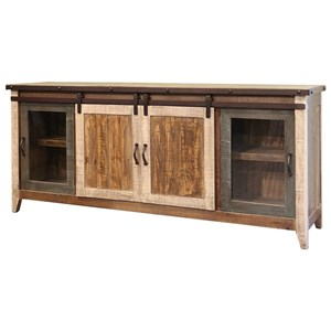 International Furniture Direct 900 Antique TV Stand with Sliding Doors