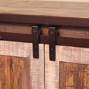 International Furniture Direct 900 Antique Rustic TV Stand with Sliding Doors