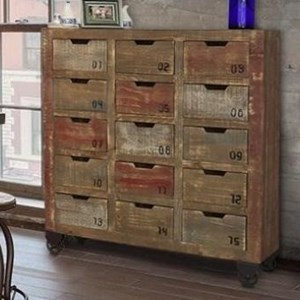 International Furniture Direct 900 Antique 15 Drawer Console