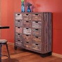 International Furniture Direct 900 Antique Rustic 15 Drawer Console with Numbered Drawers