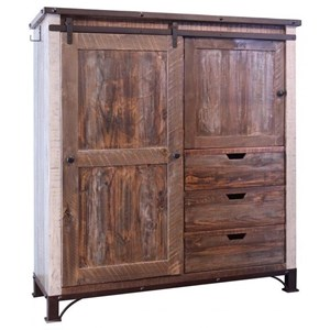 International Furniture Direct 900 Antique Gentleman's Chest with Sliding Door