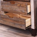 International Furniture Direct 900 Antique Rustic Gentleman's Chest with Sliding Door