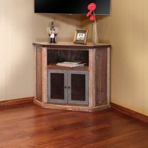 International Furniture Direct 900 Antique Corner TV Stand