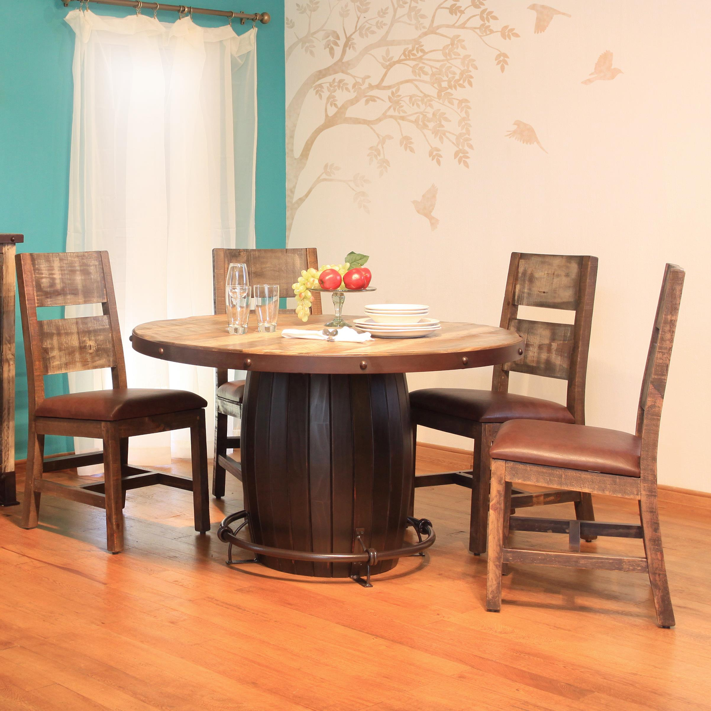International Furniture Direct 900 Antique 5 Piece Dining Set - Item Number: IFD968TABLE-B+967TABLE-T+4xCHAIR-MC
