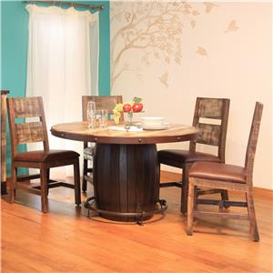 International Furniture Direct 900 Antique 5 Piece Dining Set