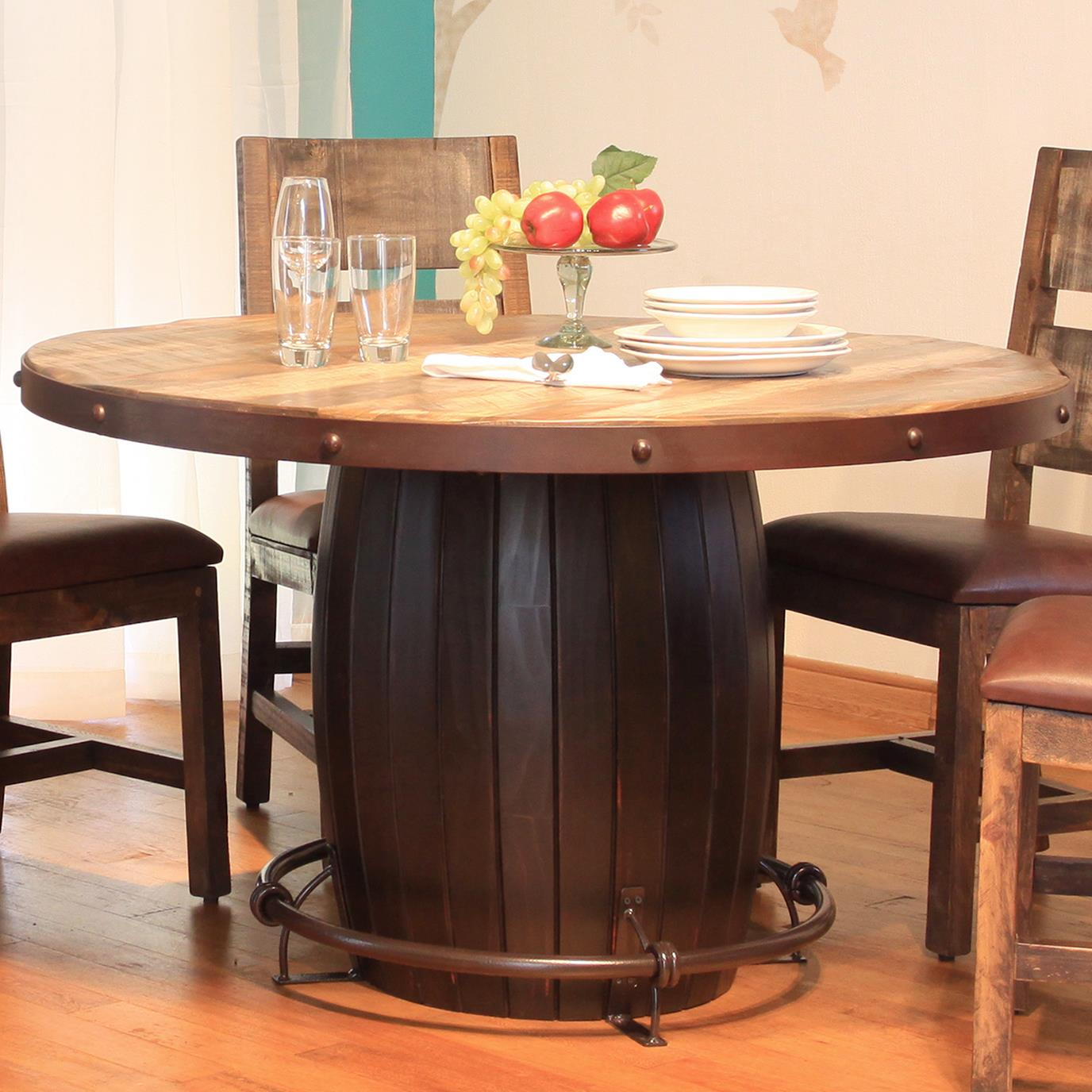 International Furniture Direct 900 Antique Round Dining Table with Barrell Base - Item Number: IFD968TABLE-B+967TABLE-T