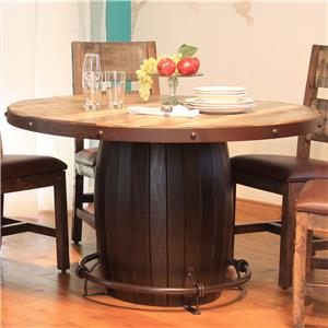 International Furniture Direct 900 Antique Round Dining Table with Barrell Base