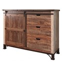 International Furniture Direct 900 Antique Chest with 1 Sliding Door and 3 Drawers - Item Number: IFD969CHEST
