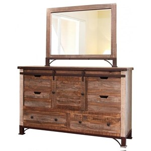 International Furniture Direct 900 Antique Six Drawer Dresser with Sliding Door