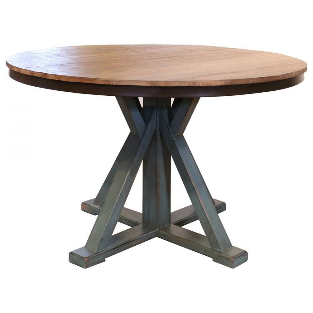 International Furniture Direct 900 Antique Round Dining Table - Item Number: IFD969RND-T+IFD969RND-B