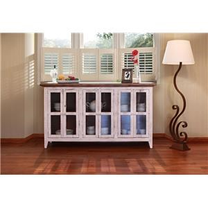 "International Furniture Direct 926 Antique White 71"" Console with Glass Doors"