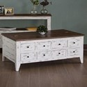 International Furniture Direct 960 Transitional Solid Wood 8 Drawer Cocktail Table With Hinged Top Storage