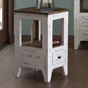 International Furniture Direct 960 Transitional Solid Wood 1 Drawer Chair Side Table