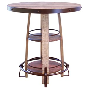 International Furniture Direct 967 Rustic Bistro Barrel Table