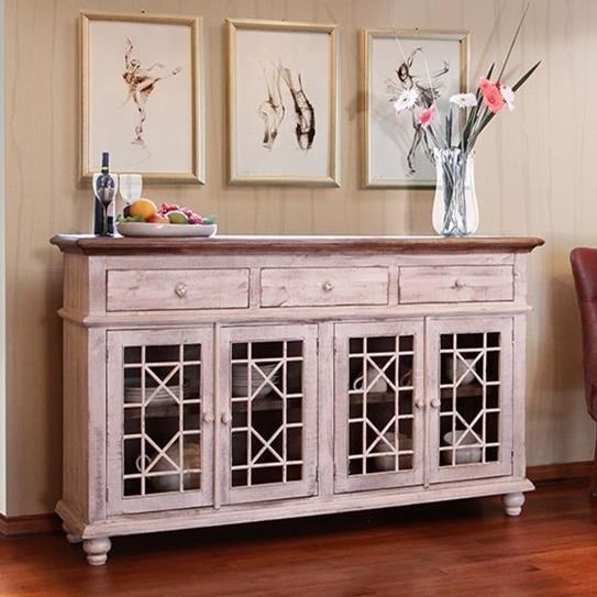 International Furniture Direct Vintage Console with 4 Glass Doors - Item Number: IFD924CONS-W