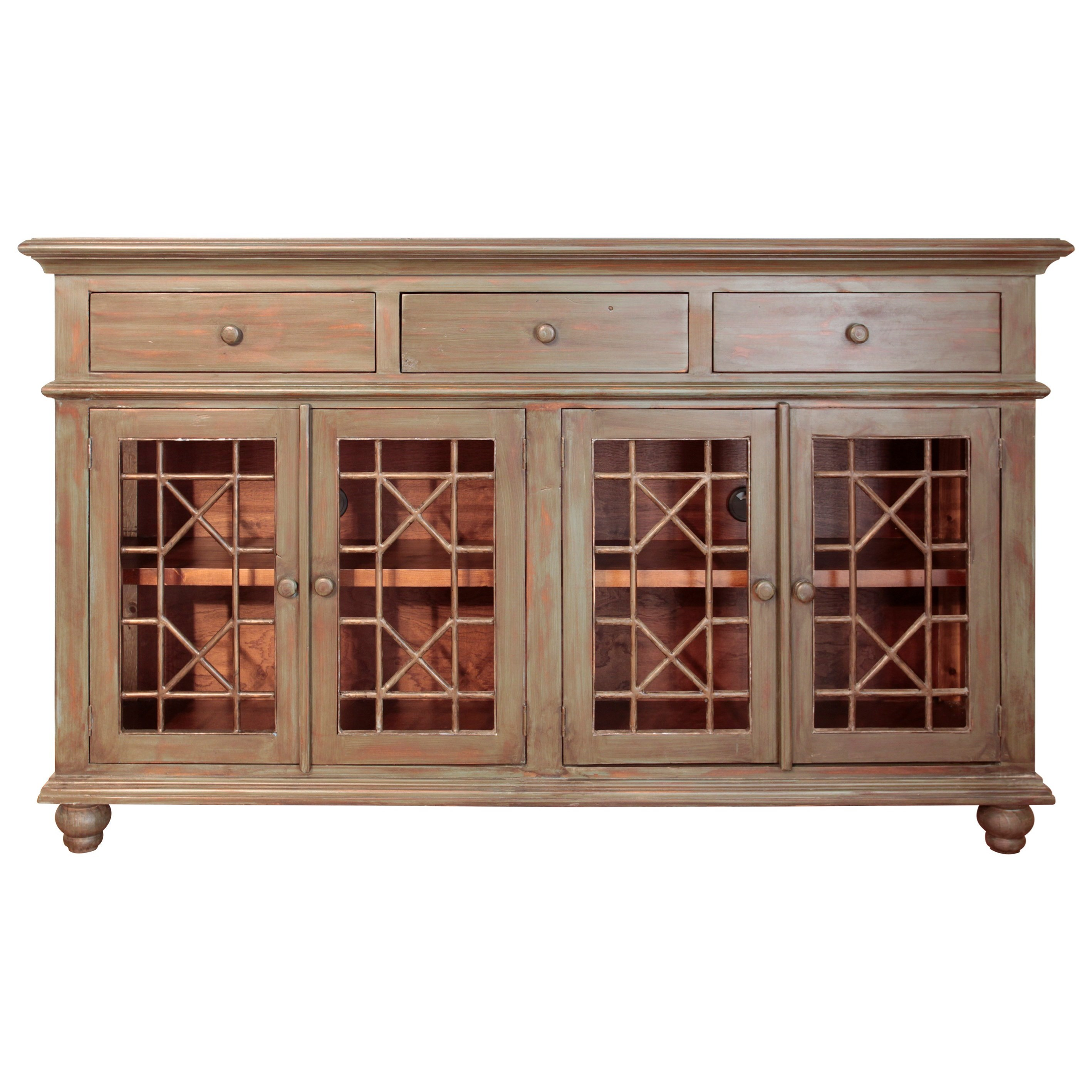 Console with 4 Glass Doors