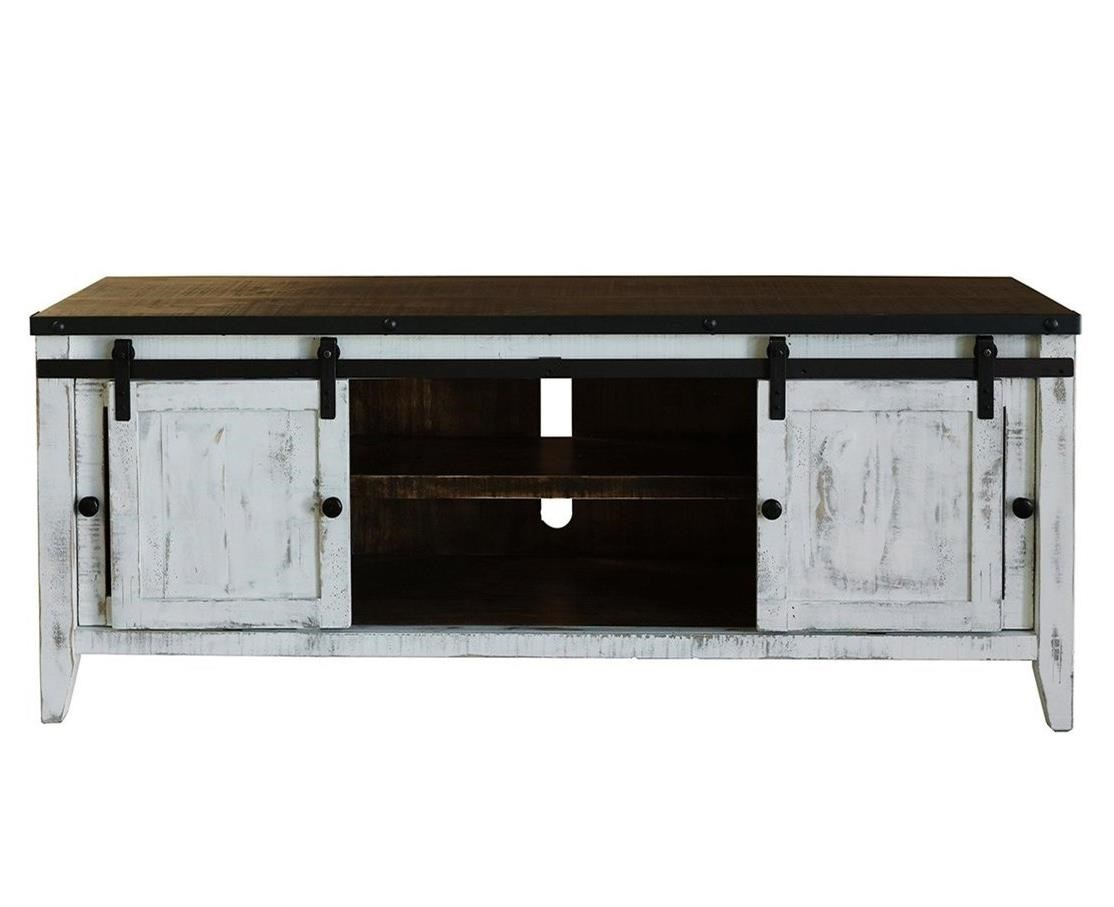 "68"" TV Stand with 2 Glass Doors and 2 Doors"