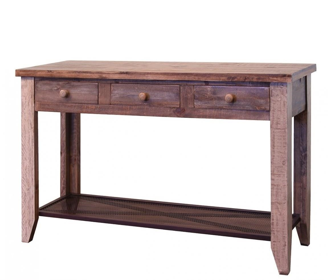 Antique 963 Rustic Sofa Table with 3 Drawers by International Furniture  Direct at Furniture and ApplianceMart