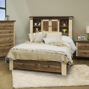 Rustic King Storage Bed with Sliding Doors