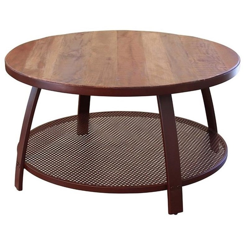 International Furniture Direct Antique Iron Ifd979cktl Cocktail Table With Iron Shelf