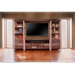 International Furniture Direct ANTIQUE MULTICOLOR Entertainment Wall