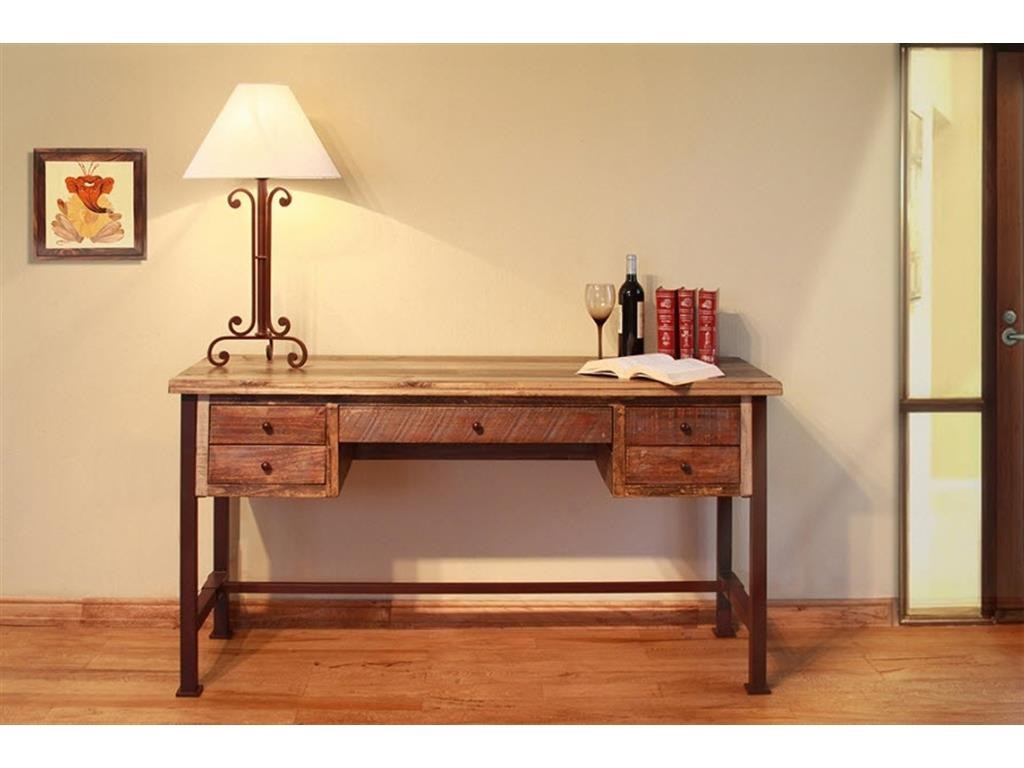 International Furniture Direct ANTIQUE MULTICOLOR Writing Desk Reclaimed  Wood finish - Item Number: IFD967DESK - International Furniture Direct ANTIQUE MULTICOLOR 60