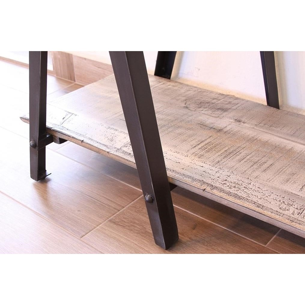 International Furniture Direct Artifact Rustic End Table With Iron Legs Dinette Depot End Tables