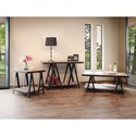 International Furniture Direct Artifact Rustic End Table with Iron Legs