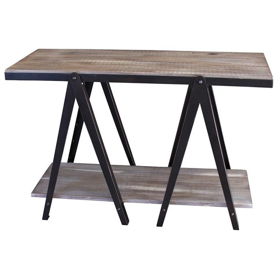 International Furniture Direct Artifact Ifd60sofa Rustic Sofa Table With Iron Legs Dunk