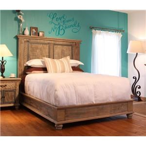 International Furniture Direct Artisan Bedroom Collection Queen Rustic Bed