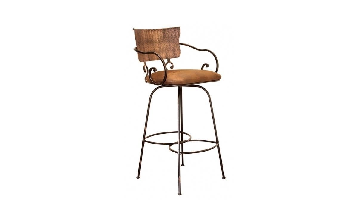 "International Furniture Direct Barstools 24"" Hand-Forged Swivel Bar Stool - Item Number: IFDI-LHR50BS24-SA"