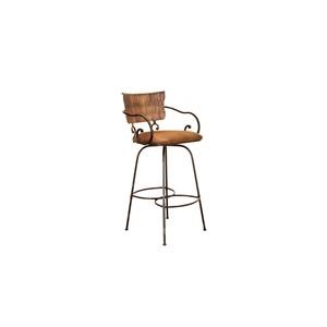 "International Furniture Direct Barstools 24"" Hand-Forged Swivel Bar Stool"