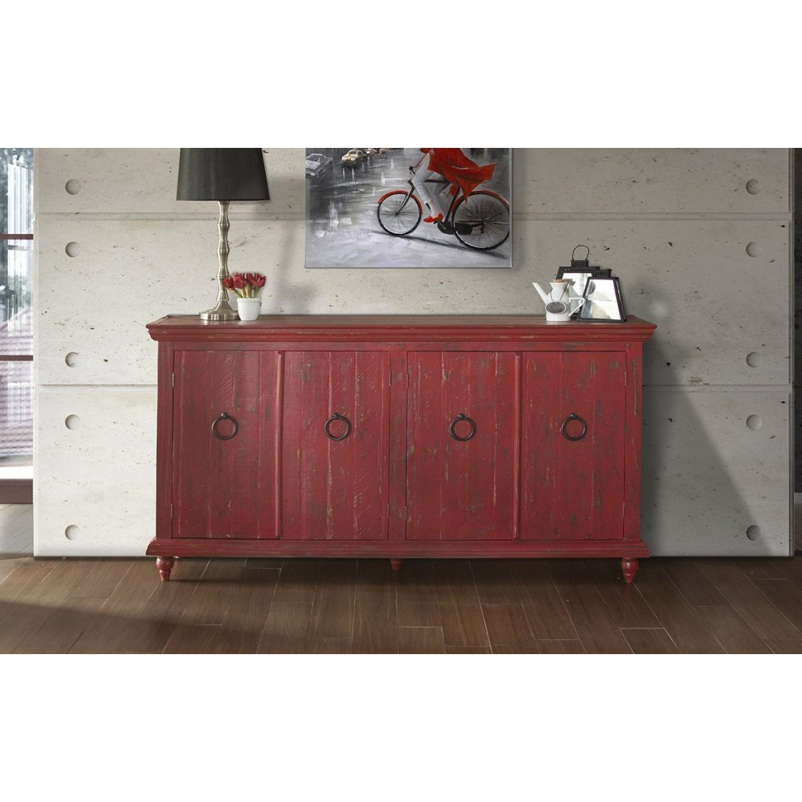 Capri 4-Door Console by International Furniture Direct at Johnny Janosik