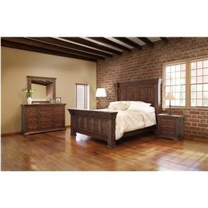 International Furniture Direct TERRA BROWN King Bed, Dresser, Mirror and Nightstand
