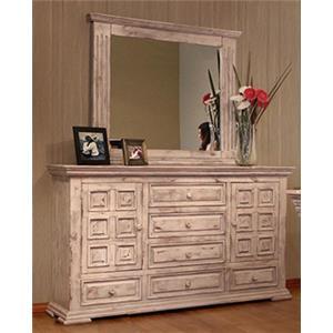 International Furniture Direct Terra White Dresser/MIrror