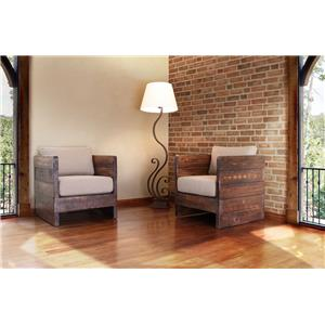 International Furniture Direct Pueblo Solid Wood Chair with Arm Rests