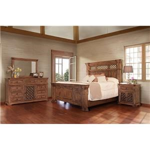 International Furniture Direct IMPERIAL King Bed, Dresser, Mirror and Nightstand