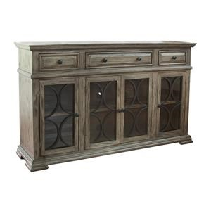 International Furniture Direct Valencia Console w/4 Glass Doors & 3 Drawers