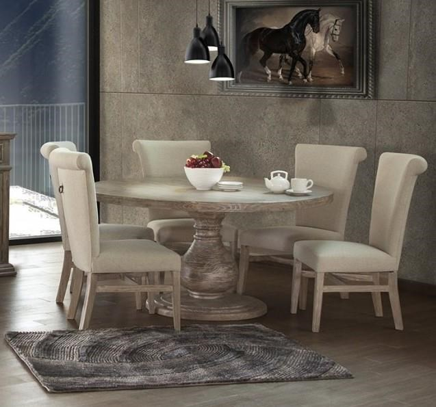Round Pedestal Table & 6 Upholstered Side Ch