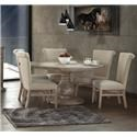 International Furniture Direct Valencia Round Pedestal Table & 6 Upholstered Side Ch - Item Number: table-6