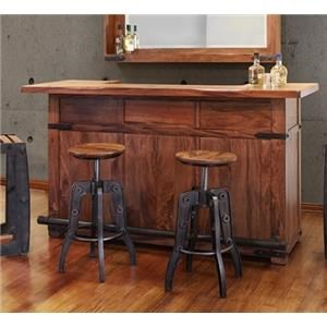International Furniture Direct Parota Bar Base and Top with Iron Footrest