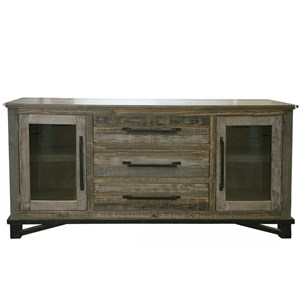 Rustic 3 Drawer, 2 Door Buffet with Iron Hardware