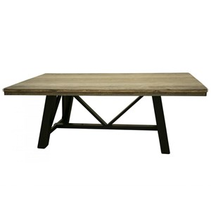 Rustic Two-Toned Solid Wood Trestle Dining Table