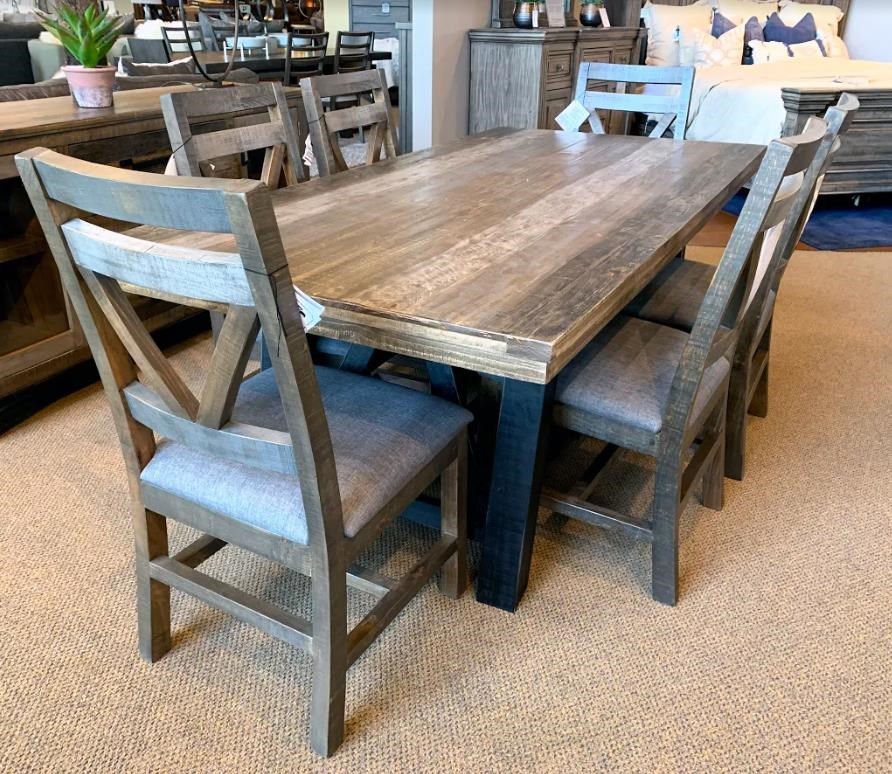 Trestle Table & Six Upholstered Side Chairs