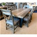 International Furniture Direct Loft Trestle Table & Six Upholstered Side Chairs - Item Number: IFDI-GRP-IFD6XX1-TBL-6