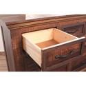 International Furniture Direct Madeira Rustic 7 Drawer Dresser with Mirror