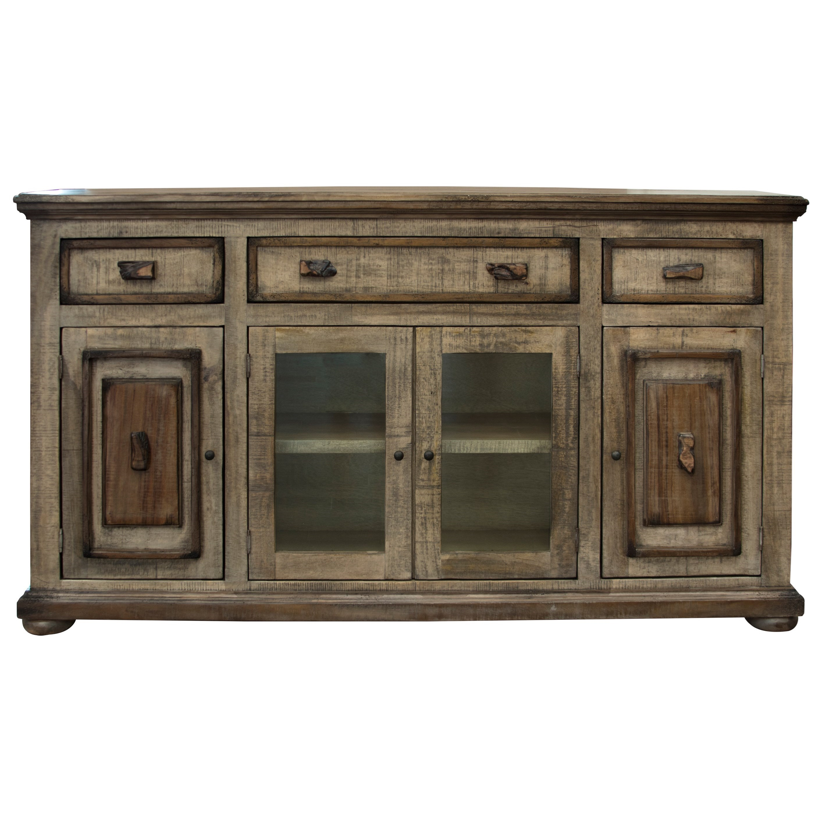 2 glass and 2 wooden doors console