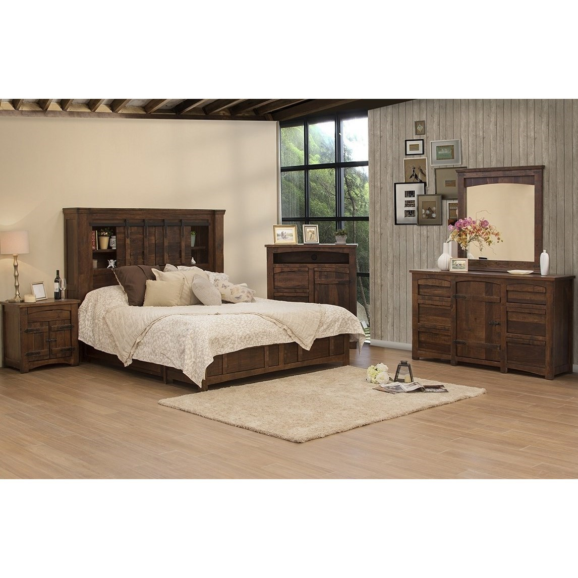 International Furniture Direct Mezcal Rustic King Storage