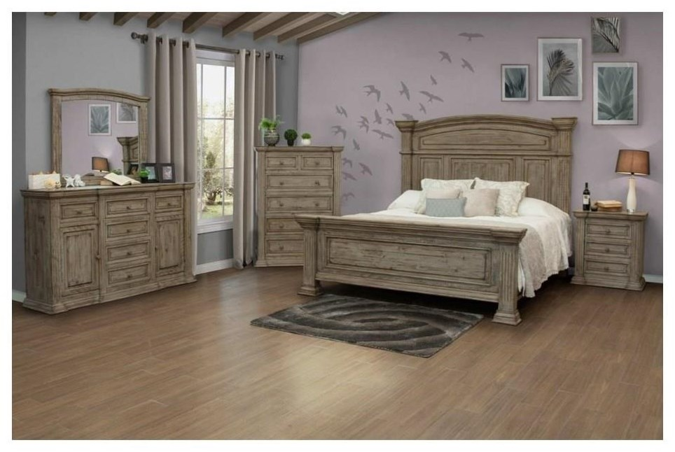 Queen Bed, Dresser, Mirror and Nightstand